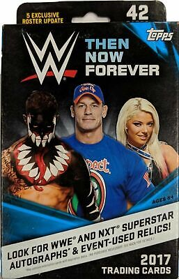 2017 wwe then now forever 42 trading cards hanger box