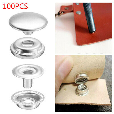 100pcs 15MM Stainless Steel Fastener Snap Press Stud Button Marine Boat Canvas
