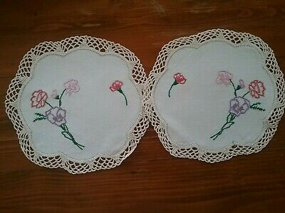 Pair Of Vintage Embroidered Doilies