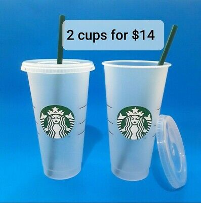 STARBUCKS 2 Reusable Venti 24 OZ Frosted Ice Cold Drink Cup With Lid & Straw