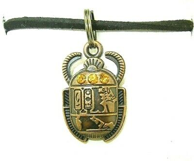 New 3-D Egyptian SCARAB Beetle with Golden Crystals Copper-tone Pendant Necklace