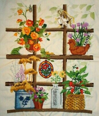 """Sunset """"Garden Window"""" Flowers Bottles Frog Crewel Embroidery Completed Finished"""