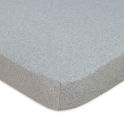 Living Textiles Cot Fitted Sheet Jersey Grey Melange