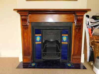 TIMBER MANTEL & CAST IRON INNER - with Tile Inlay, removed, 4t