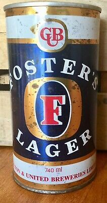 Fosters Lager. 740ml. Straight Steel. Beer Can.