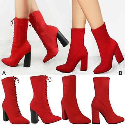 Womens Ladies Lycra Satin High Heels Stretch Ankle Boots Celeb Shoes UK 3-8