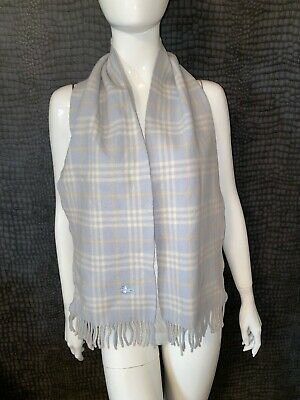 Excellent Condition - Burberry Check Lambswool Baby Blue Scarf