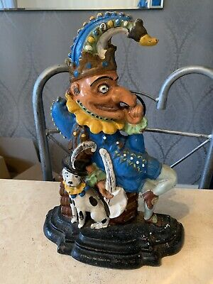 Wonderful Vintage Painted Mr Punch Cast Iron Doorstop