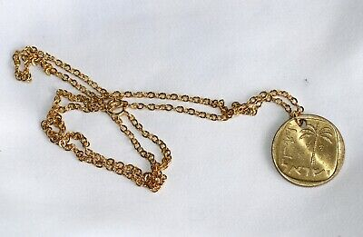 """Israel Coin Charm Pendant Stringed Lyre Jewish 2 Micron Gold Chain 50 cm - 19.5"""""""