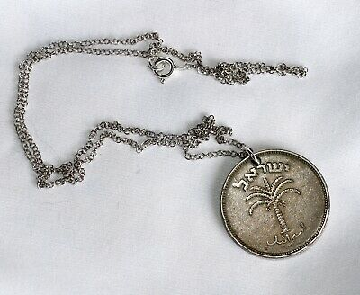 """Silver 925 Chain 50 cm - 19.5"""" Israel Coin Charm Pendant Stringed Lyre Jewish"""