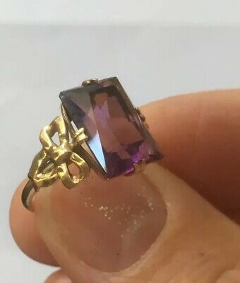 Antique Art Deco 9ct Gold Dress Ring Bow Pattern Large Amethyst 2.7g