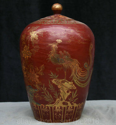 "14"" Marked Old China lacquerware Porcelain Dynasty Flower Rooster Cock Pot Crock"