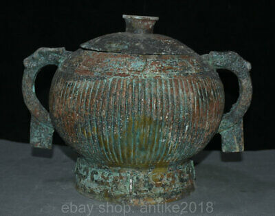 "13"" Chinese Old antique Bronze Beast Head Handle Ware Food Wine Pot Jar Crock"