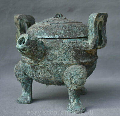 "8"" Chinese Old antique Bronze Ware Food Wine Beast Head 3 Foot Pot Jar Crock"