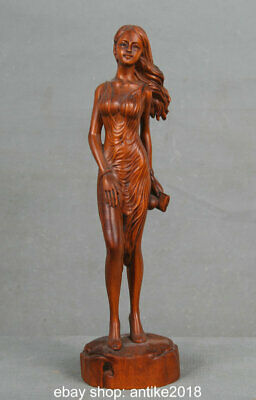 """8.8"""" Old Chinese Boxwood Wood Carved sex appeal Beautiful Woman Girl Sculpture"""