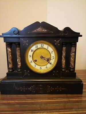 Beautiful vintage slate-marble pendulum 8-day Junghans mantel clock