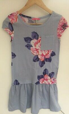 Joules Girls Floral Blue Pink Flowers Dress Aged 9-10 Yrs
