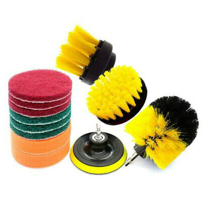 Electric Drill Scouring Scrubbing Brush Pads Wood Tile Floor Power Scrubber Kit