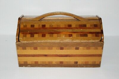 Vintage Wooden Sewing Box Chest w Handle Thread Bobbin Tray Beautiful Pattern