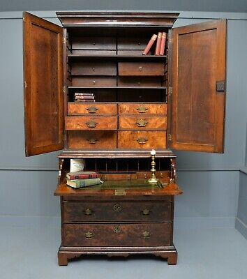 Rare Early 18th Century Walnut Secretaire Writing Cabinet