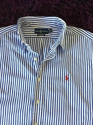 Super Cool 100% Genuine Mens Ralph Lauren Classic Fit Striped Shirt In XXL