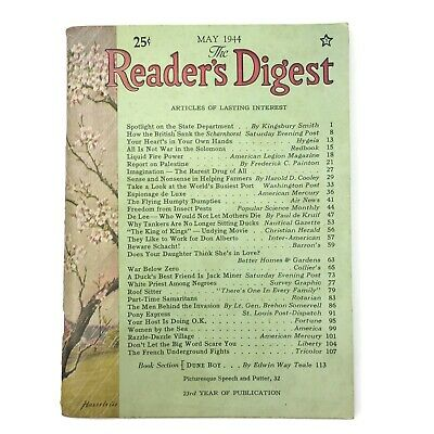 Readers Digest Magazine May 1944 WWII Articles Good Condition