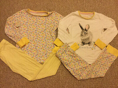 Mothercare Girls Yellow Floral Ditsy Pyjamas X2 Long Sleeve Bottoms 5-6 Years