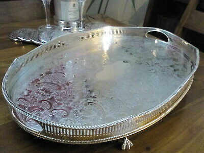 A LARGE VINTAGE SILVER PLATED TRAY - wave edged - Ball and Claw feet - Sheffield