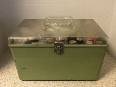 Vintage Wilson Mfg. Avocado Sewing Box W/ Full 2 Tray Notions Thread Ribbon Etc