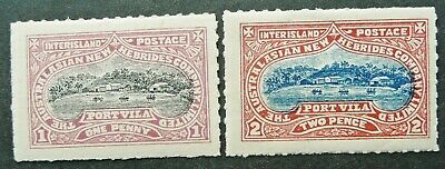 AUSTRALASIAN NEW HEBRIDES 1d & 2d INTER-ISLAND STAMP PAIR - MH - SEE!