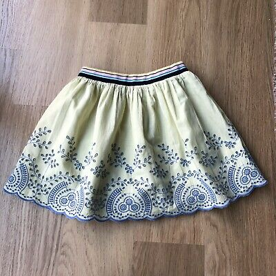 Next Girls yellow & Blue Floral Embroidered Skirt - 8 Years