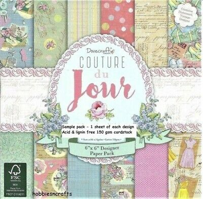 Dovecraft Couture Du Jour Papers - 6 X 6 Sample Pack  - 12 Sheets