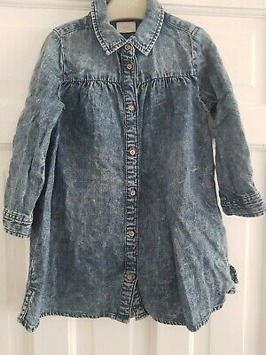 Next Girls Acid Washed Denim Dress Age 3-4 Years Excellent Condition