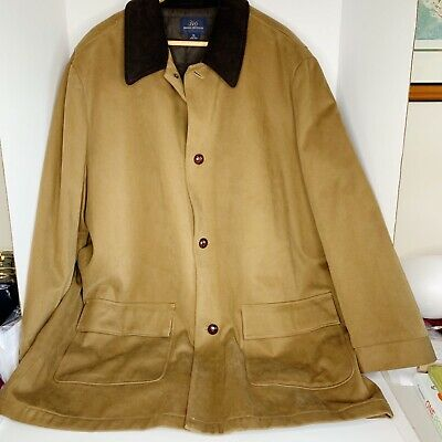 Brooks Brothers Mens Khaki Brown Barn Chore Coat Field Jacket Corduroy Collar