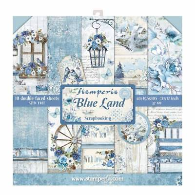 Stamperia Blue Land 12 x 12 Paper Pack - Birds Lamp Winter Flowers