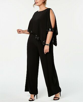 Adrianna Papell Plus Size Embellished Cold-Shoulder Jumpsuit Size 20W # 9NA 89 B