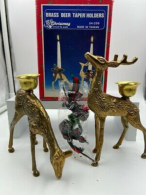 Vintage Pair Brass Deer Buck & Doe Christmas Candle Holder Taper Holders Set