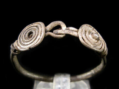 Very Rare Bronze Age Period, Huge Size Double Spiral Silver Ring+++