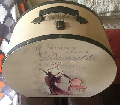 Antique Womens Hat Box/Suitcase Luggage With Hat.