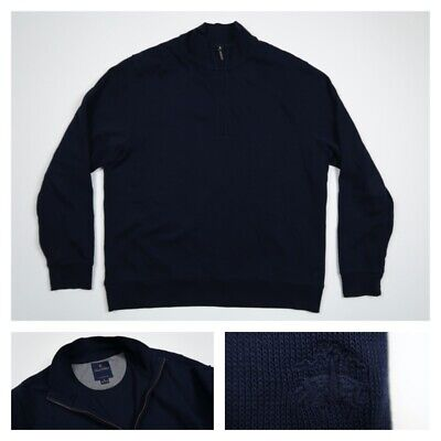 Brooks Brothers Mens XL 1/4 Zip Navy Blue Cotton Pullover Sweater Jacket New