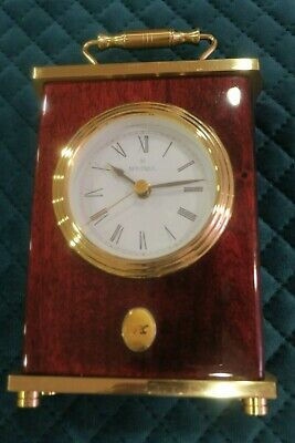 Nrc Montreux Battery Clock, Brass & Wood Grain, Condition Is Good