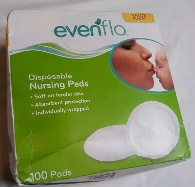Evenflo  Nursing Pads 100 Count Individually Wrapped White Breathable Value Pack