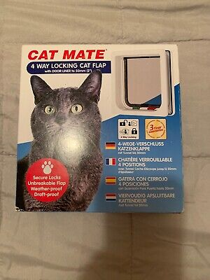 Cat Mate 4 Way Locking Cat Flap with Door Liner White                         A5