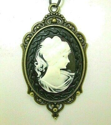 """New Large Lovely Antique-look Bronze-tone CAMEO Pendant 18"""" - 20"""" Black Necklace"""