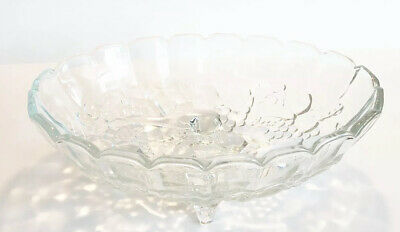 VINTAGE Indiana Depression Glass Clear Harvest Grape Design Footed Oval Bowl