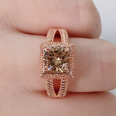 Elegant Rose Gold Filled Wedding Rings for Women Jewelry Topaz Ring Size 8