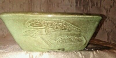 Vintage Pottery Bonzi Planter Green Brown Glaze Signed EVE Collection EUC