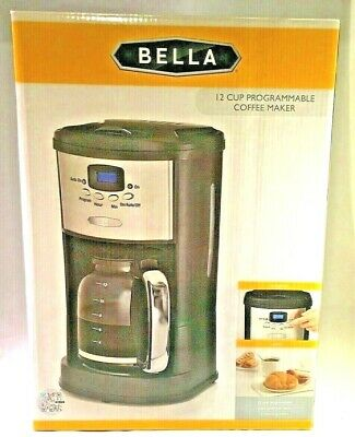 BELLA 12-Cup Brewing Coffee Programmable Maker #14015 Polished Stainless Steel