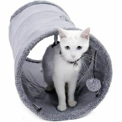 Collapsible Cat Tunnel Crinkle Durable Suede Kitten Toys Hideaway Ball Peek Hole