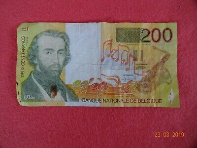 200 Francs Belgien Belgique Belgium Belgio Banknote bill note 1995 almost UNC